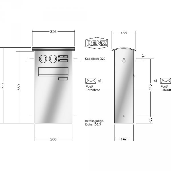 renz zaun montage convex edelstahl v4a ausf hrung durchwurfbriefkasten. Black Bedroom Furniture Sets. Home Design Ideas